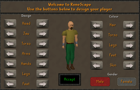 Welcome to RuneScape - Use the buttons below to design your player