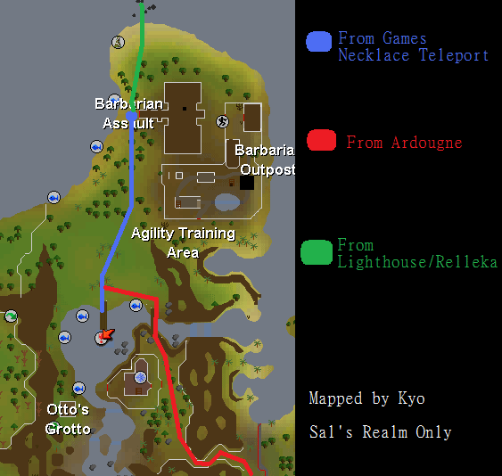 Map of routes to the Waterfiends