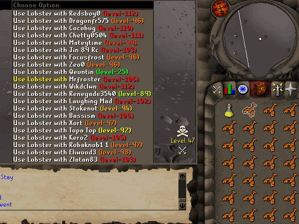 """A large group of PKers """"piling"""" on top of each other to look like 1 person."""