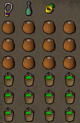Inventory: glorry Ammy, Ectophial, Ring of Dueling, 12 Bonemeals, 12 Slime Buckets